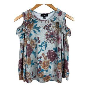 Amy Byer Cold Shoulder Sweater Floral Ruffle Gray
